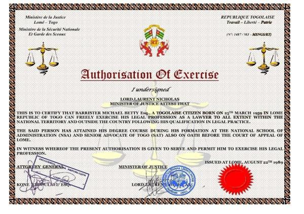 Certificate of Authorisation