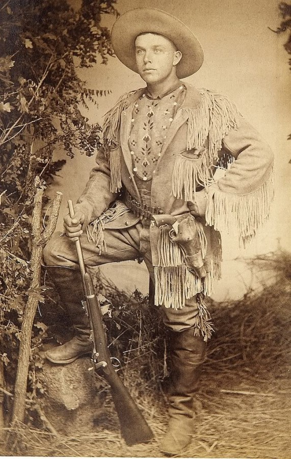 Great Armed Scout from Colorado 1880s - This superb image of Scout  . This un-identified scout is also holding a Model 1873 Springfield Trapdoor Rifle  revolve