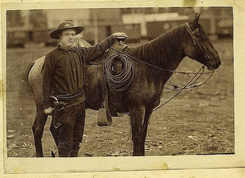 Cabinet Card Photograph of Sheriff with pistol Arizona Territory ca 1880s - Great early photograph of sheriff standing next to his horse,