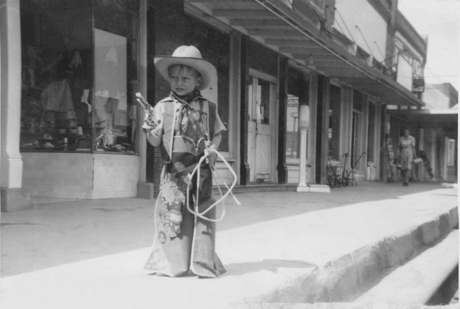 John Strother in front of Arant's Variety Store in downtown Roscoe