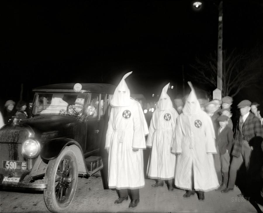 Washington, D.C., or its Virginia suburbs. March 18, 1922. Ku Klux Klan  And Klanmobile. National Photo Company Collection glass negative