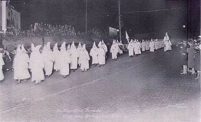 Women from the KKK march in Bellingham, May 15, 1926. Photo Whatcom County Historical Society.