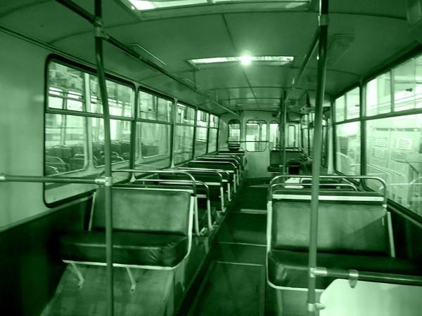 Это салон троллейбуса ЗиУ-9 производства завода имени Урицкого из города Энгельса. Самый массовый троллейбус на всём советском и постсоветском пространстве.