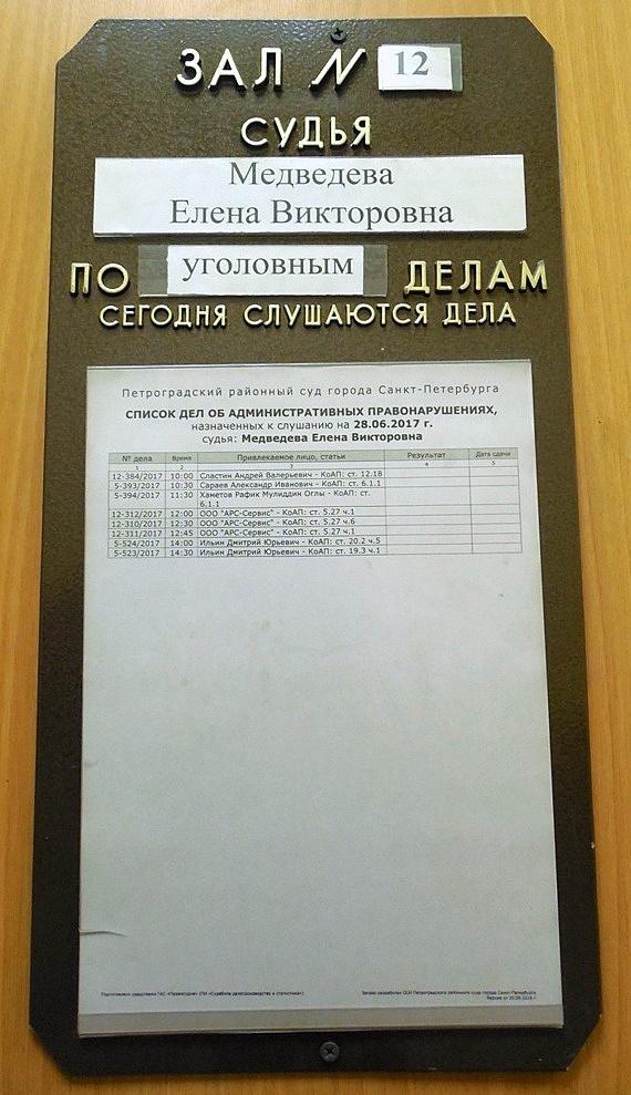 Петроградский районный суд СПб, зал № 12. 28.06.2017.