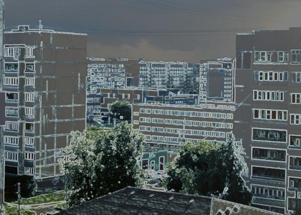 Вид на бывшую Чулковскую слободу с шестого этажа дома № 28 по улице Марата (Донской).