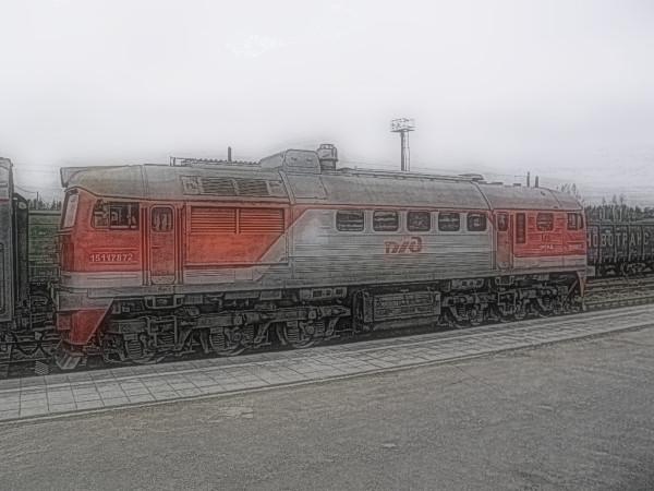 Пригородный поезд № 6451 Кузнечное-Сортавала. Тепловоз (на снимке) и два сидячих вагона при нём.