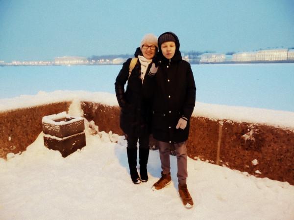 Вид с Адмиралтейской стороны на Васильевский остров. Январь 2019 г.