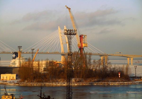 Это северная оконечность Петербургского порта. Кусочек Канонерского острова. Январь 2018 г.