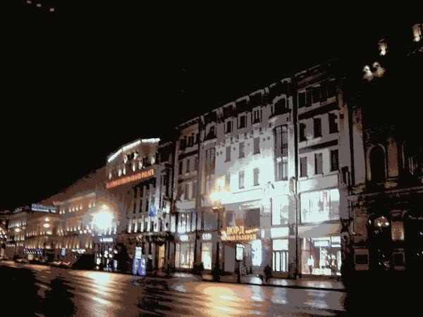 Центральная и самая широкая часть главной улицы Петербурга у Гостиного двора. Январь 2007 г.