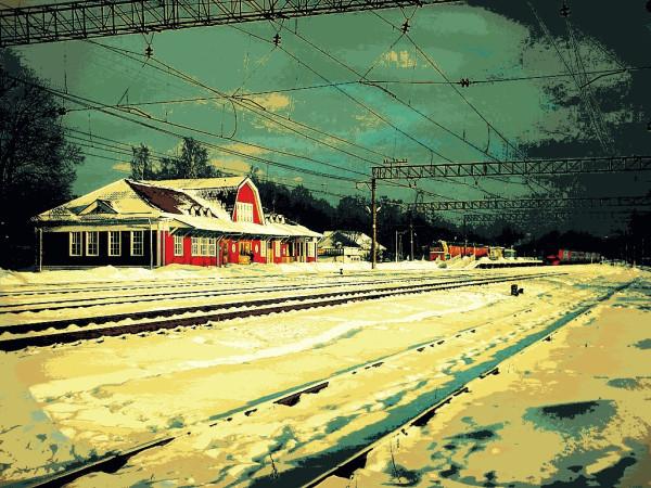 Вид с озера на станцию, вокзал и пути. Февраль 2018 г.