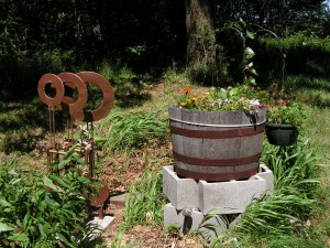 Here is the barrel garden.