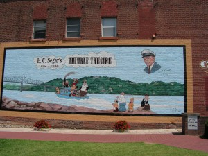 This Thimble Theater mural is on the righthand wall facing into the park.