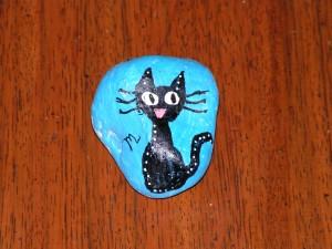 I found this rock with a cat on it at Douglas-Hart Nature Center on August 13, 2018.