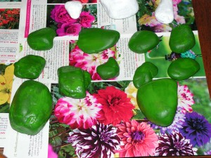 These are the green rocks after their second coat of base paint.