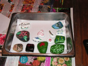 These rocks have been decorated and are ready for the ritual.
