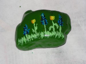 This is the top of my rock with tulips and grape hyacinths.