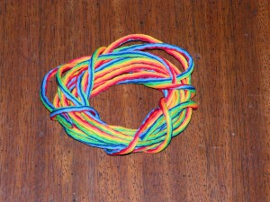 This is a strand of rainbow nylon to hold all the dangles.