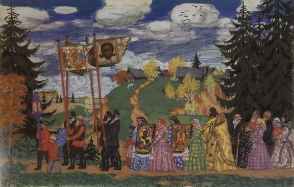 Кустодиев-Борис-Михайлович-1878-1927-Крестный-ход2.-1915