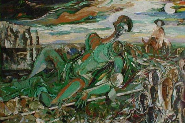 Михаил ГАРДУБЕЙ - «Дон Кихот - II»  (оргалит, масло, рельеф) 1985