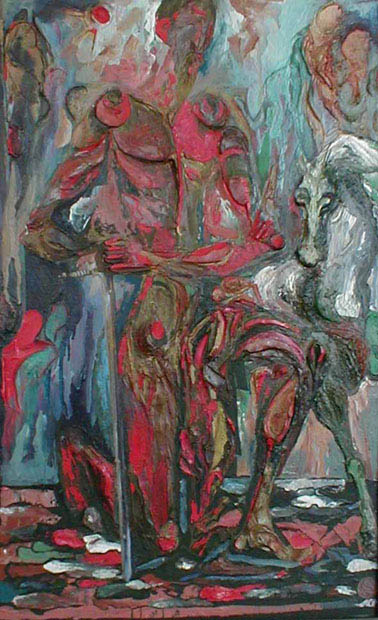 Михаил ГАРДУБЕЙ - «Дон Кихот - V» (оргалит, масло, рельеф) 1984