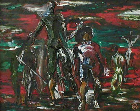 Михаил ГАРДУБЕЙ - «Дон Кихот - I» (оргалит, масло, рельеф) 1985