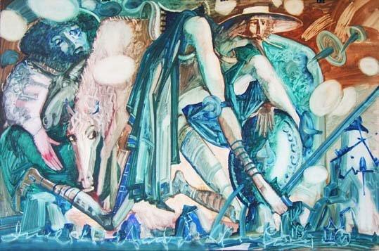 Михаил ГАРДУБЕЙ - «Дон Кихот и Санчо Пансо» (бумага, масло) 2004