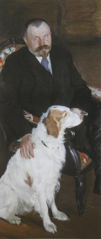 Кустодиев - Портрет доктора С.Я.Любимова с собакой. 1904 - 1
