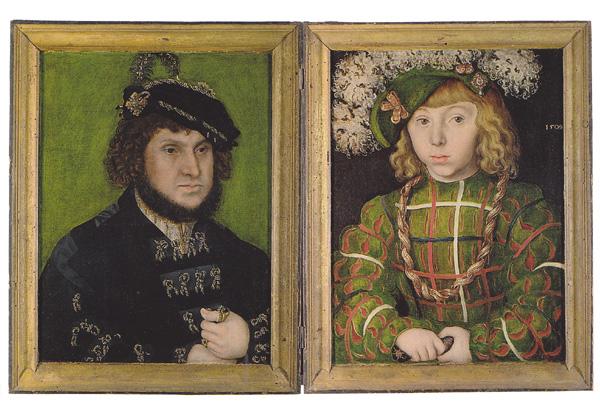 Лукас Кранах - Курфюст Иоган Постоянный и его сын Иоган-Фридрих Великодушный. 1509 г