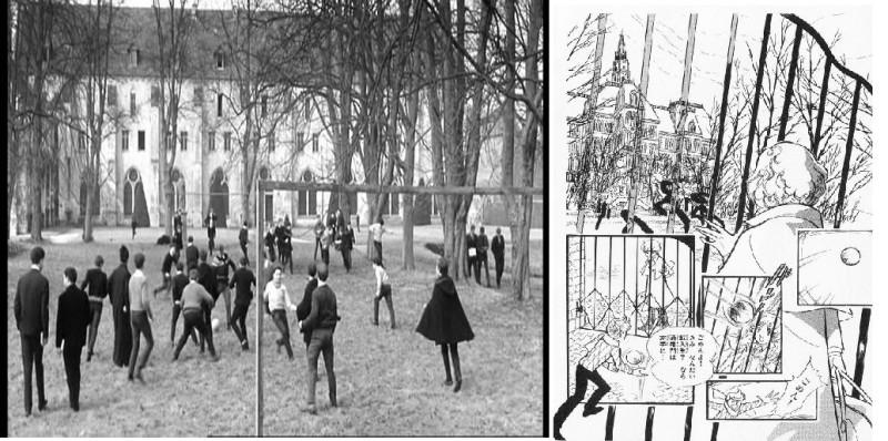 Рис. 5. Ученики играют в футбол – кадр из фильма «Особенная дружба» (1964) и страница из манги «Сердце Томаса» (том 1, переиздание 1995, Сёгакукан бунко, стр. 55).