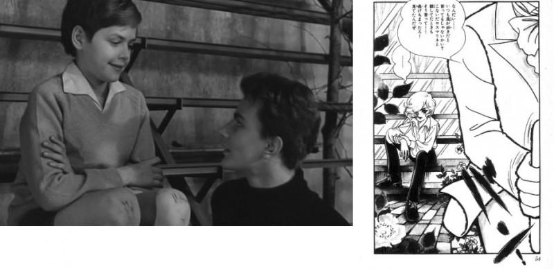 Рис. 6. Теплица – кадр из фильма «Особенная дружба» и страница из манги «Песня ветра и деревьев» (том 1, 1977, Сёгакукан, стр. 52)