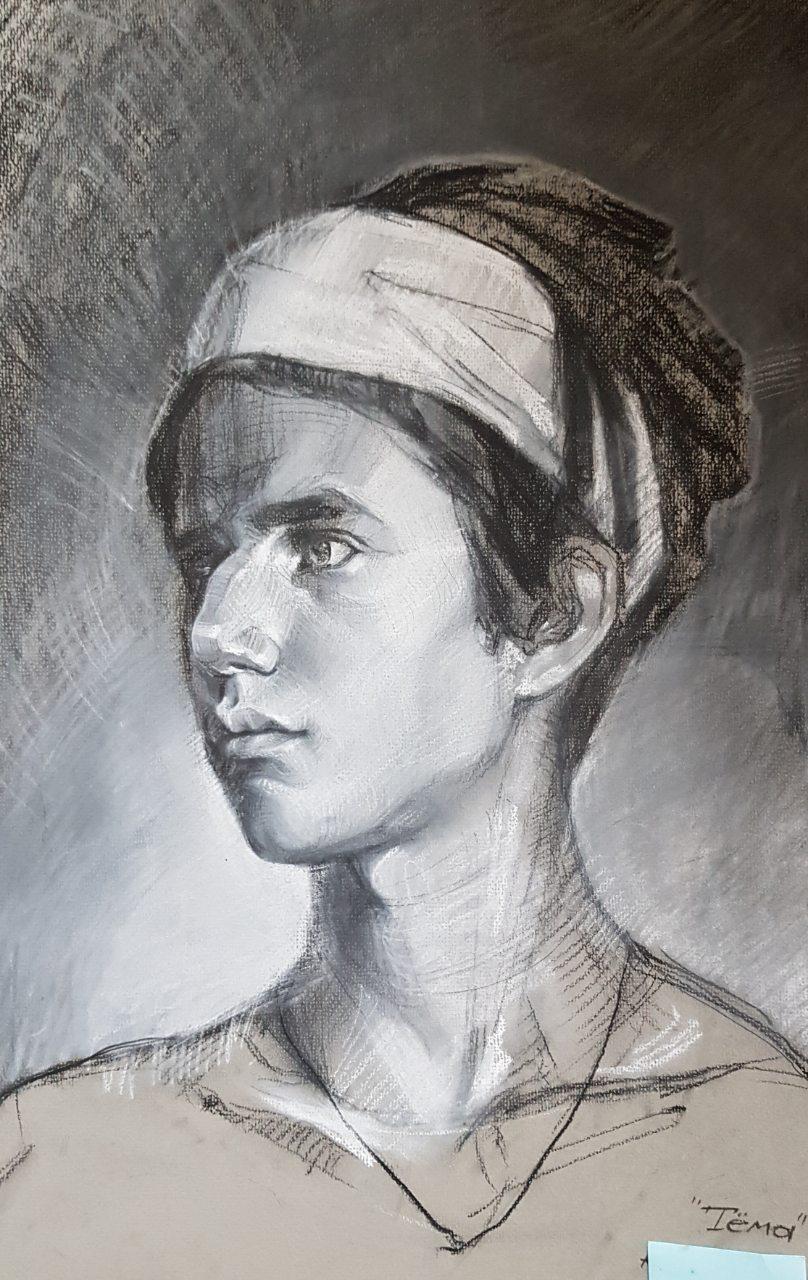 Быстрый портрет, уголь, пастель