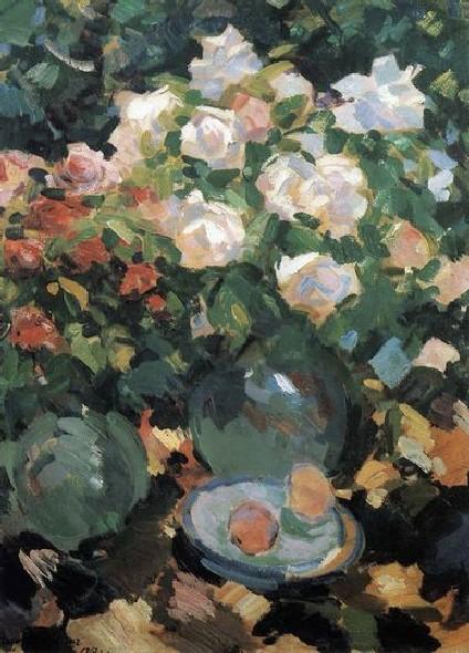 Коровин. Розы в голубых кувшинах.1917.