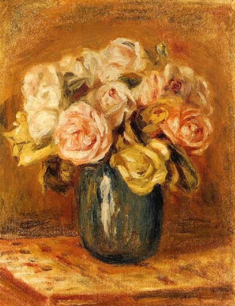 О.Ренуар Розы в синей вазе. 1906