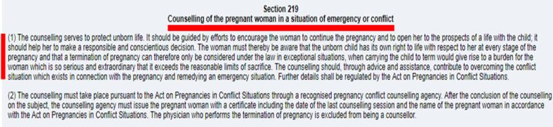 """Скриншот фрагмента Уголовного кодекса Германии:  глава 16 """"Преступления против жизни"""", статья 219 """"Консультирование беременных в критической ситуации""""."""