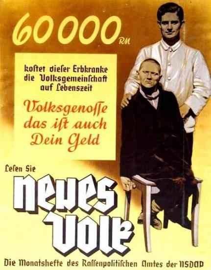 """Рис. 8. Нацистский плакат, пропагандировавший евгеническую идеологию (""""расовую гигиену"""")  в Третьем Рейхе."""