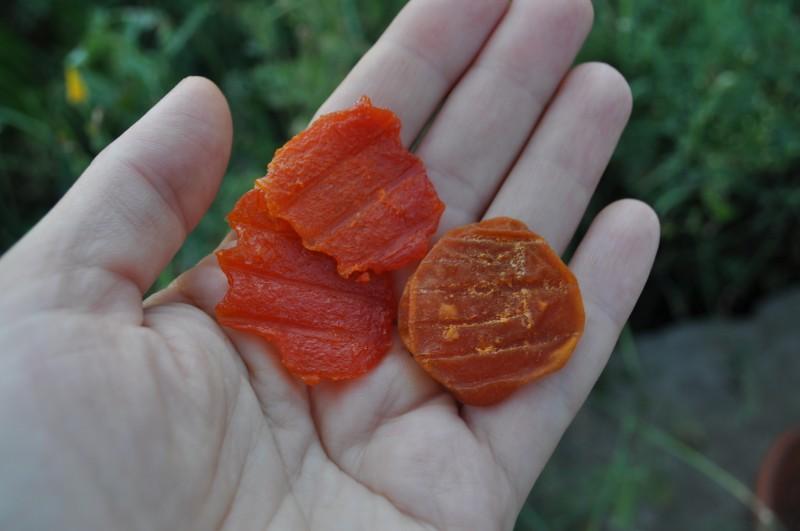 Сразу после сушки домашняя курага оранжевая, а потом темнеет.