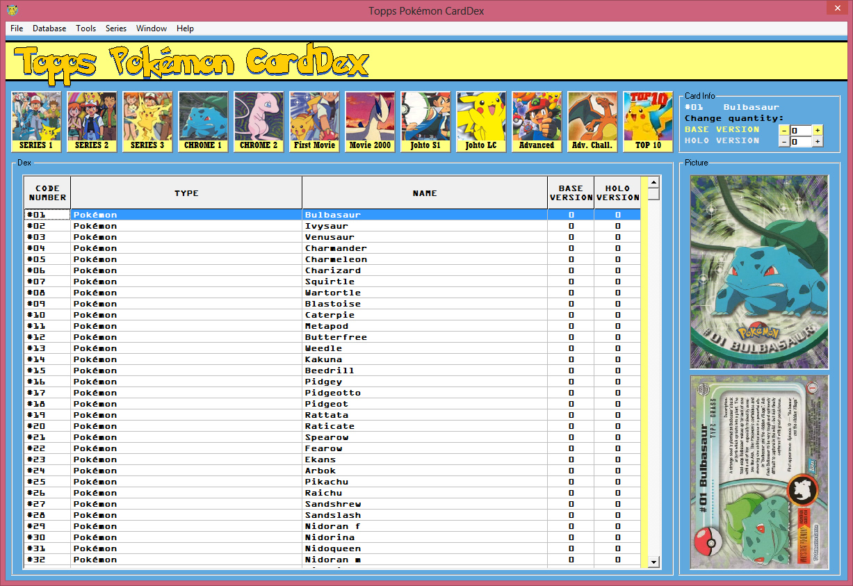 image relating to Printable Pokemon Checklist With Pictures known as Software package for cataloguing Pokémon Topps Playing cards