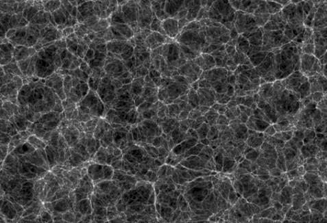 Крупномасштабная структура Вселенной. Светлые точки - галактики и скопления галактик.