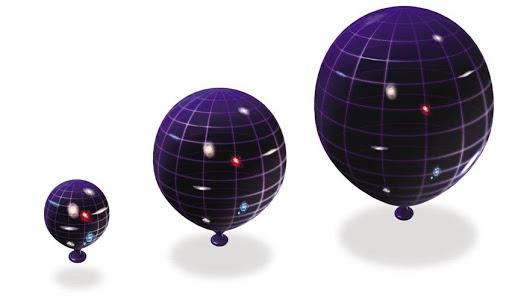 Популярная аналогия - увеличение расстояния между точками на поверхности воздушноого шара по мере его надувания