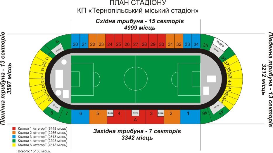 Трибуны стадиона разделены на