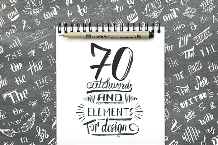 hand lettering catch words and design elements - Creative Market