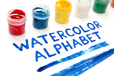 Watercolor alphabet, paint font - Creative market