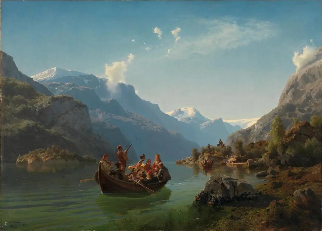 Картина норвежского живописца А. Тидеманна «Свадебная процессия в Хардангере» (1849)