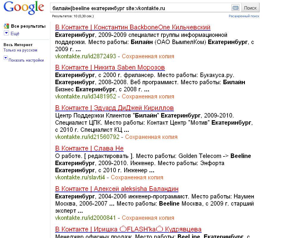 Вконтакте, Google, Конкурентная разведка