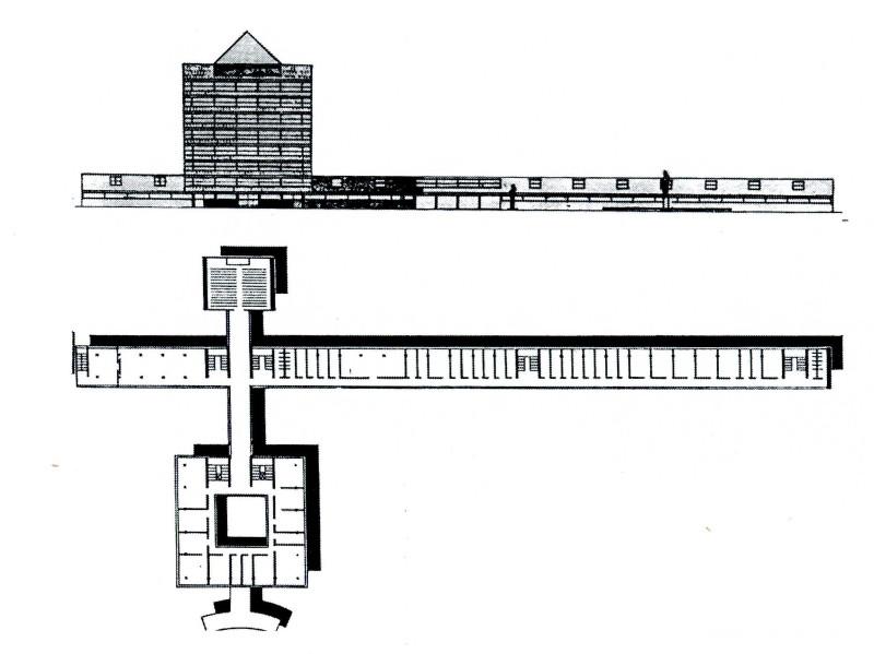 Проект здания заводоуправления ЧТЗ (А. Буров и Г. Кириллов), 1930 год
