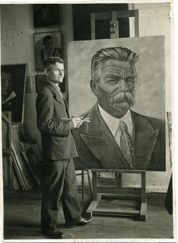 Художник Вандышев И.Л. пишет портрет Горького 1936