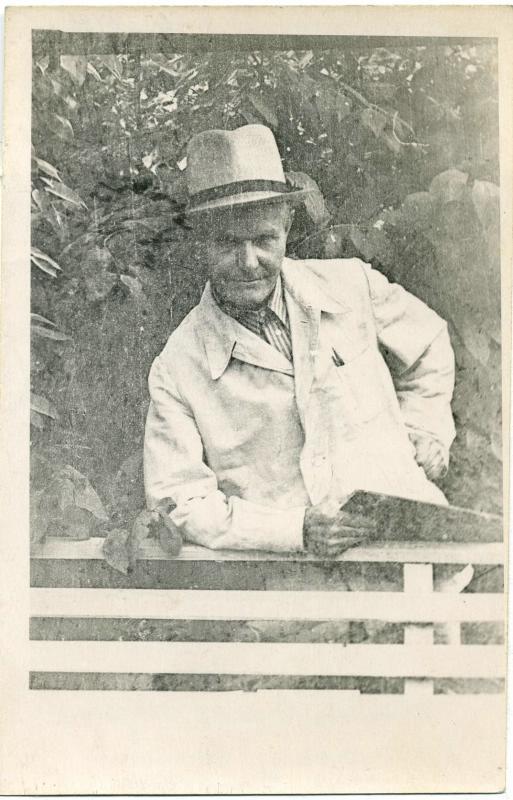 Художник Вандышев И.Л. в доме отдыха г.Кыштыма 1957