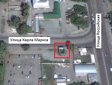 Место, где находился двухэтажный каменный дом (ул. Карла Маркса, 43, г. Челябинск)