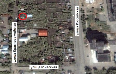 Местонахождение: Снимок со  спутника. Октябрь 2000 г.    г. Челябинск,  ул. Красноармейская, 37