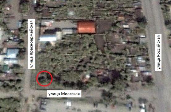 Местонахождение: Снимок со  спутника. Октябрь 2000 г.   г. Челябинск,                                                        ул. Красноармейская, 45